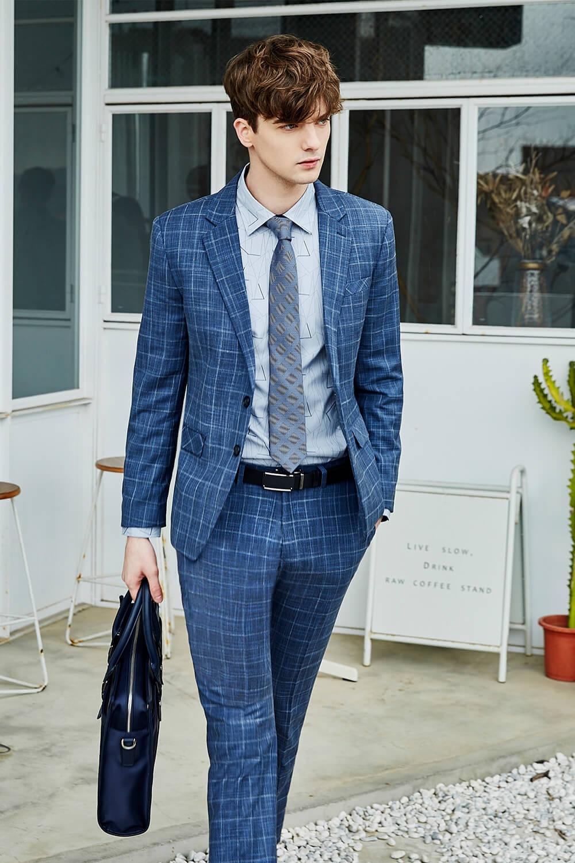 都市藍格紋西裝套裝