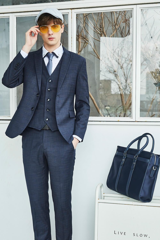 深灰藍格紋西裝套裝