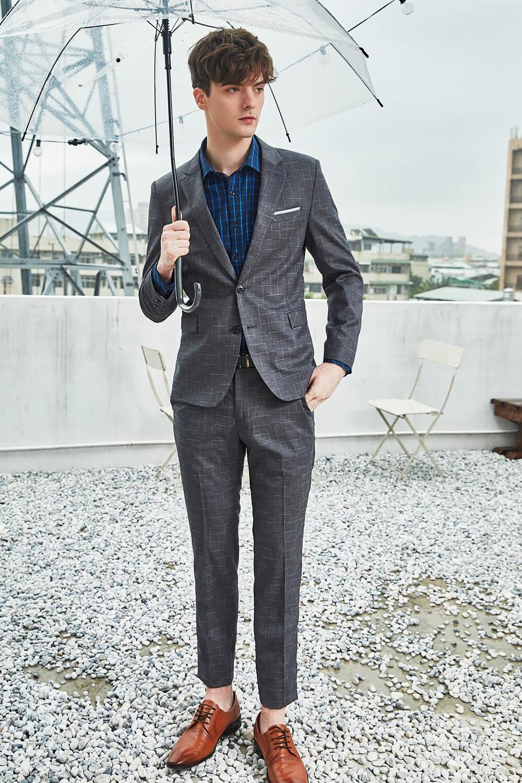 灰色格紋西裝套裝