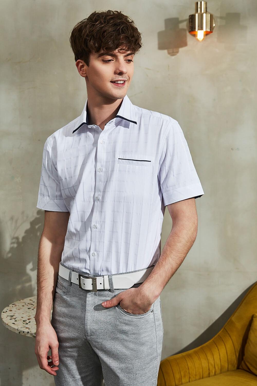 白色暗格短襯衫