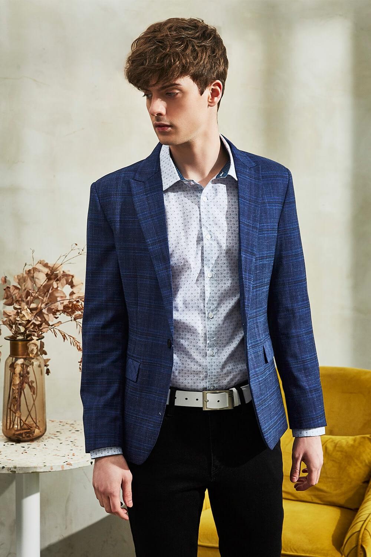 寶藍修身格紋西裝外套