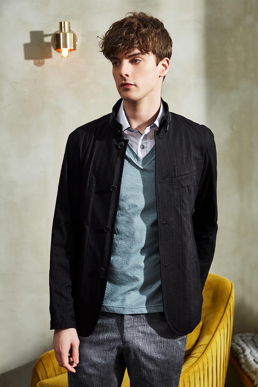 時尚黑條紋休閒外套
