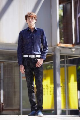 E'SOPO 藍色印花長袖休閒襯衫