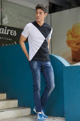E'SOPO 【T-shirt 10】大三角色塊短T