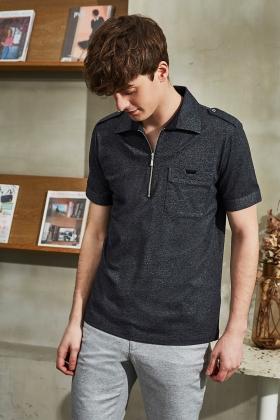 拉鏈式Polo衫 / 深灰