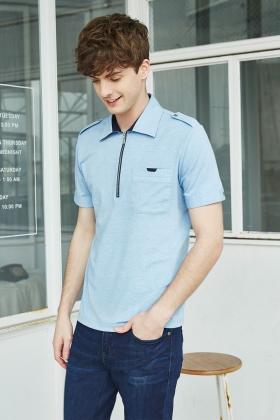 拉鏈式Polo衫 / 蔚藍